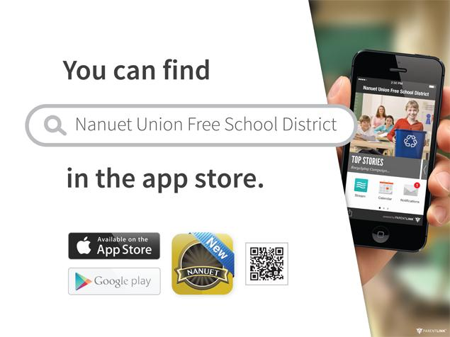 Download the new Nanuet Parentlink App keep up to date with school news on your phone.  Visit the Parentlink page under Parent/Community or search Nanuet in you App store.