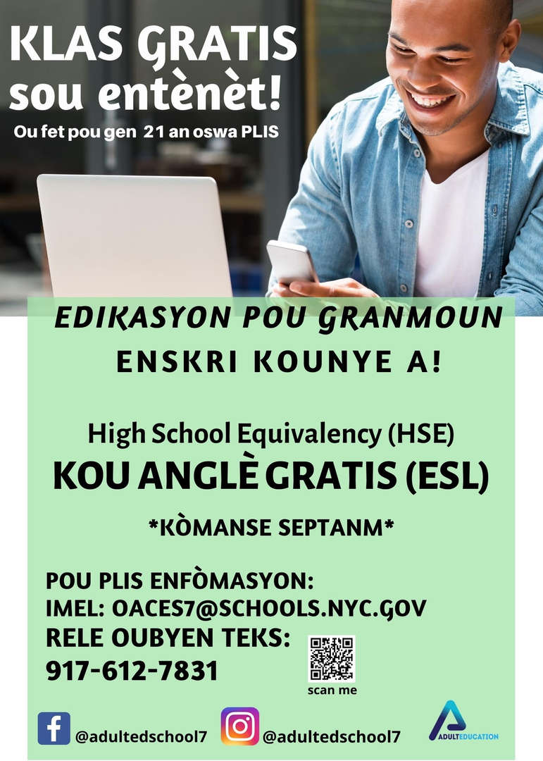Adult Education Classes Free. Flyer in Polish