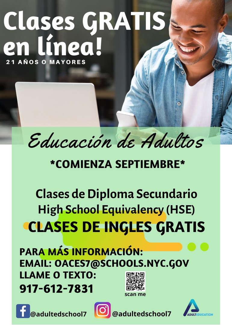 Adult Education Classes Free. Flyer in Spanish.