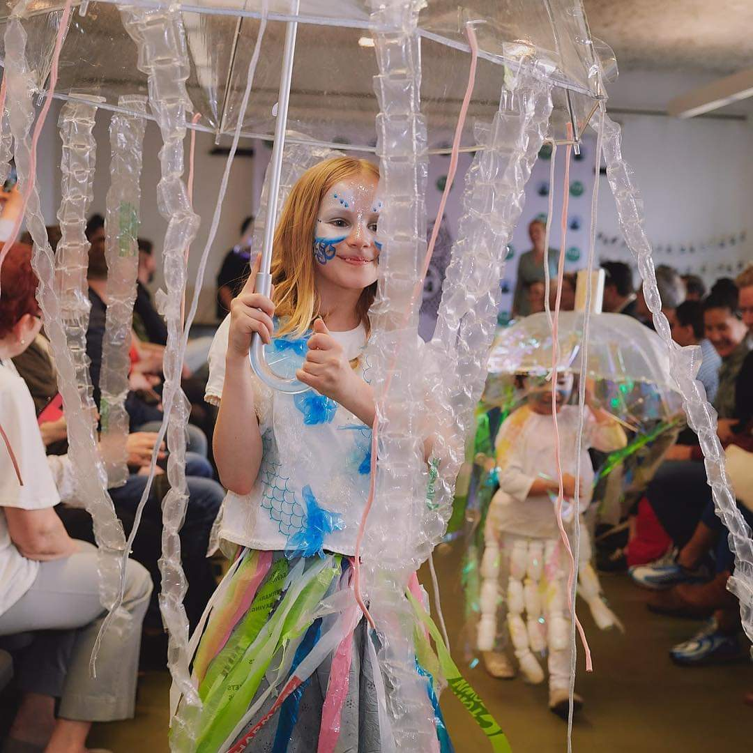 Eco Fashion Show Student  dressed as Jellyfish