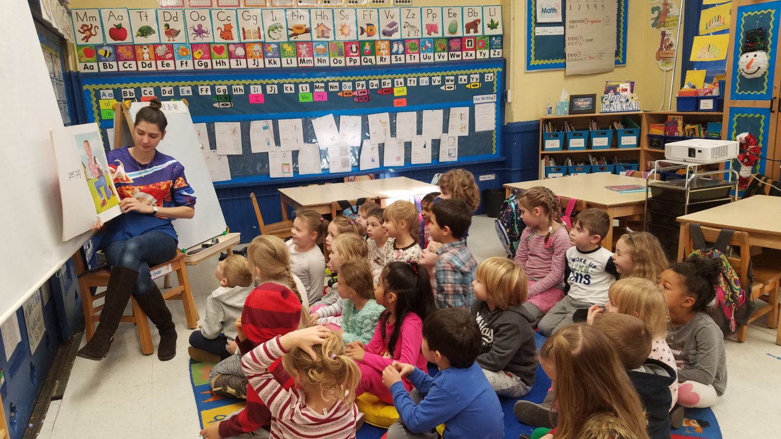 Kindergarten Polish Dual language class sit for a Polish story time with their teacher