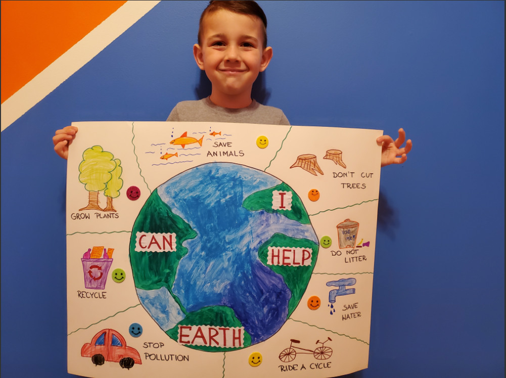 Boy with eath poster and ways to safe the earth
