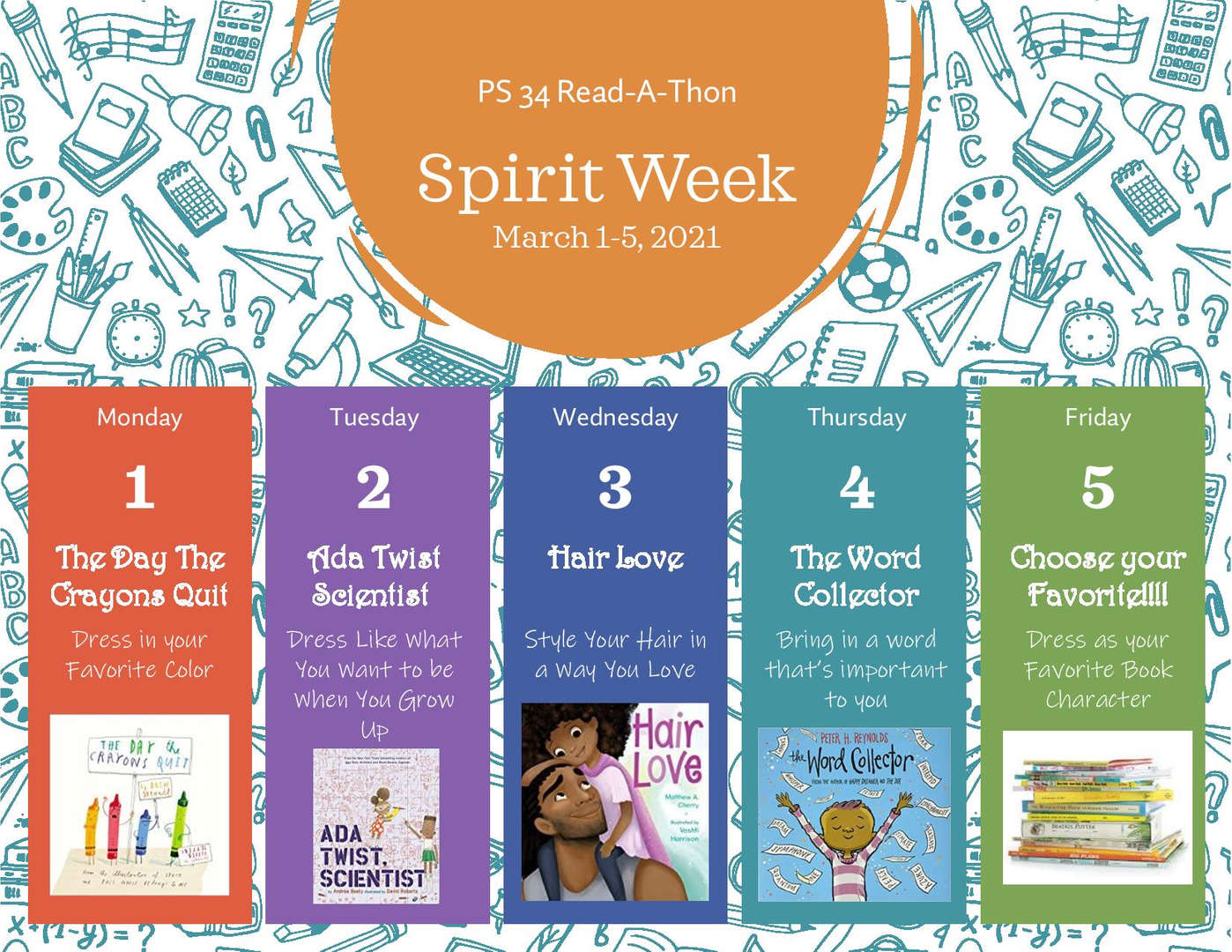 PS 34 Spirit week Read A thon March 1-5 2021