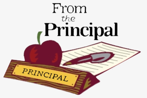 """A cartoon apple pen and paper with writing on top that says """"From the Principal"""""""