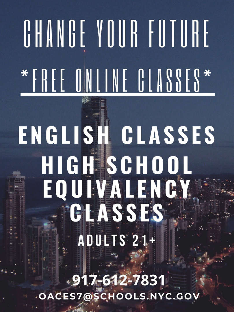 High School Equivalency Classes For Adults 21 and over.