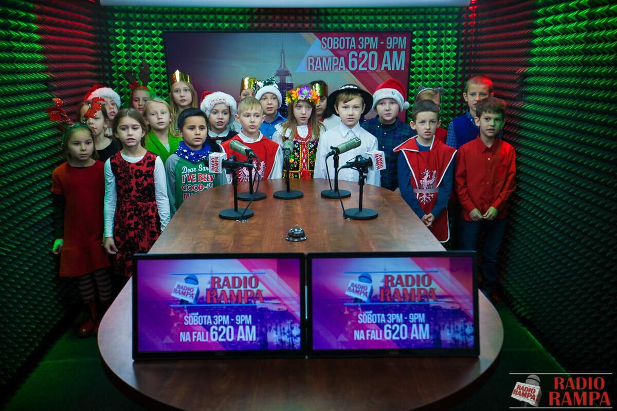 class 3-203 Polish Dual Language class caroling on Radio Rampa studio