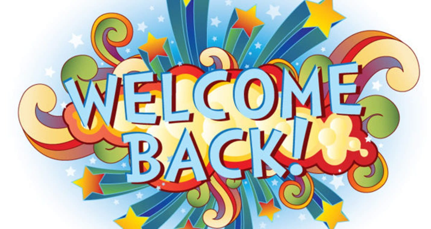 Welcome back words in blue exploding with stars in the background