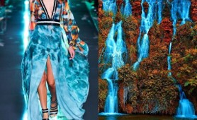 water fall picture next to a picture of a waterfall dress
