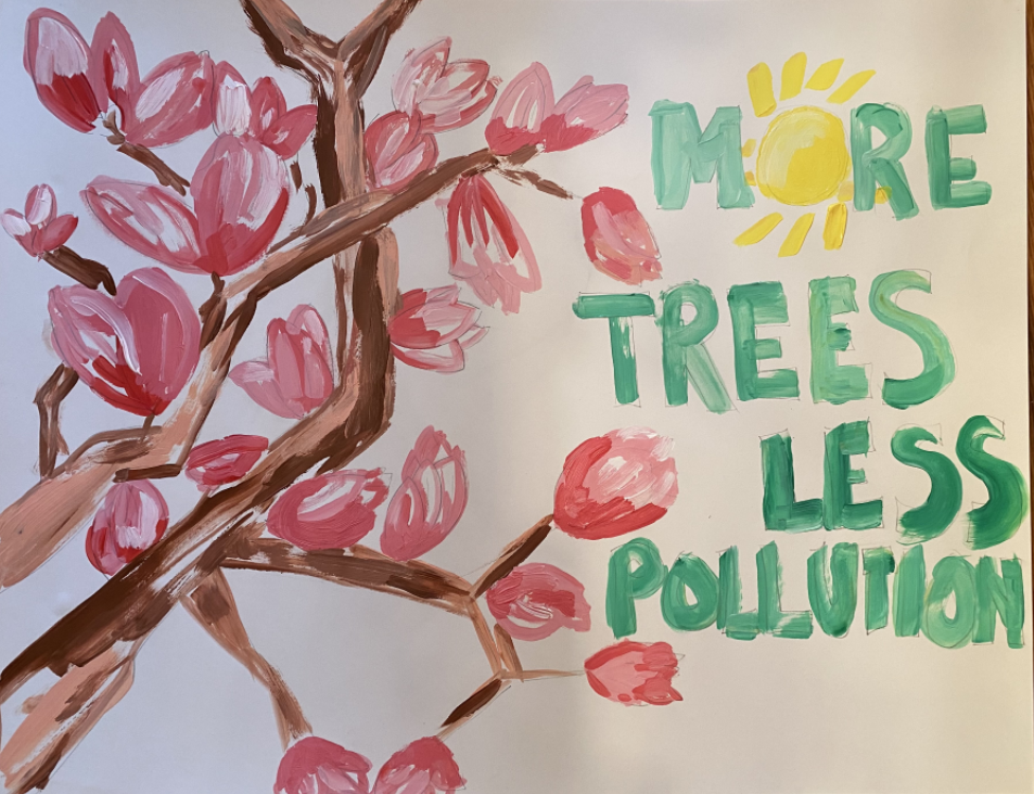 Painting of a brown tree with pink flower that says plant more trees.