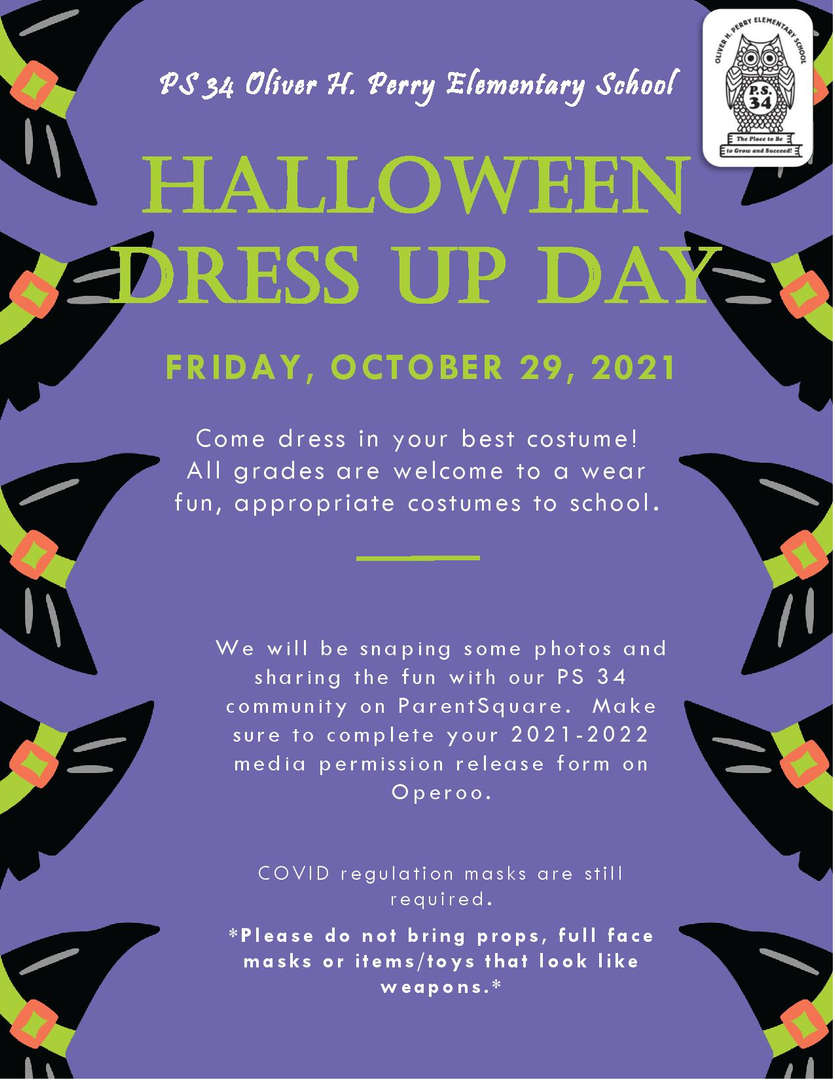 Halloween Dress Up Day poster purple with witches hats
