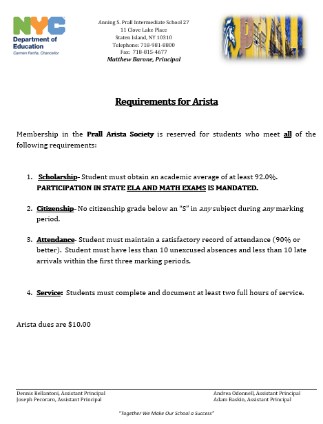 Arista Requirenments