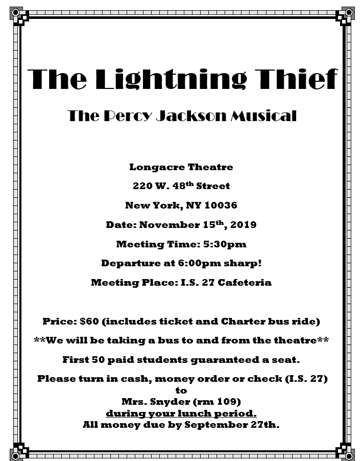 Lightening Thief Trip Image of Flyer