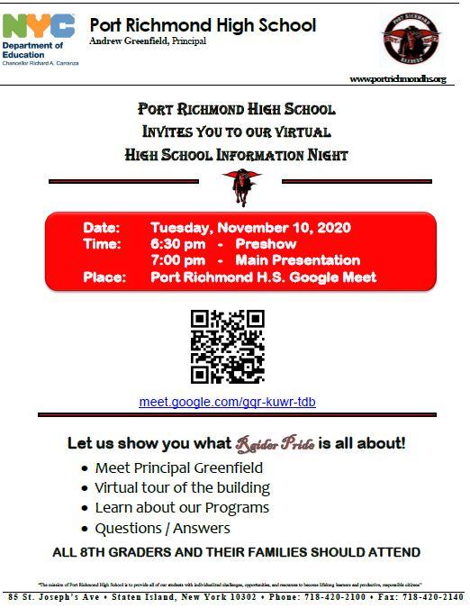Port Richmond High School Open House Flyer
