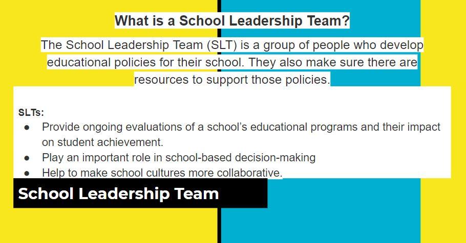 School Leadership Teams description