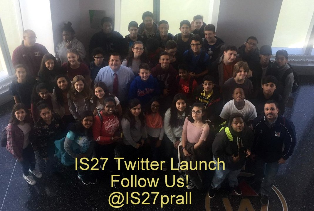 Mr. Barone and selected students at our official Twitter launch.