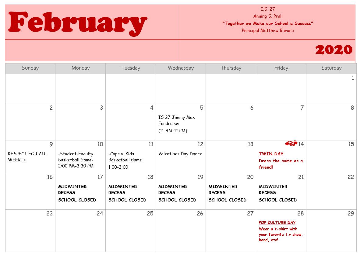 Image of February Calendar