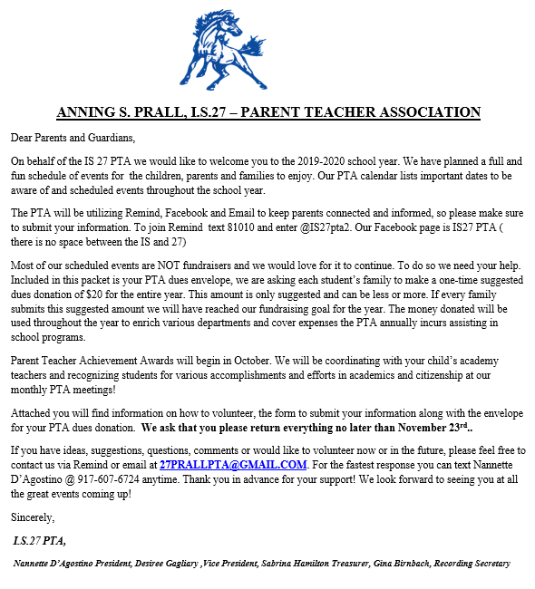PTA Welcome Letter