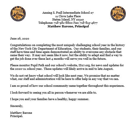 Image of 2019-2020 Closing letter to Prall Families from Principal Barone.  Full text below (English and Spanish, Word and PDF)