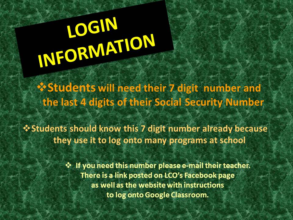 Student Login Information to Google Classroom