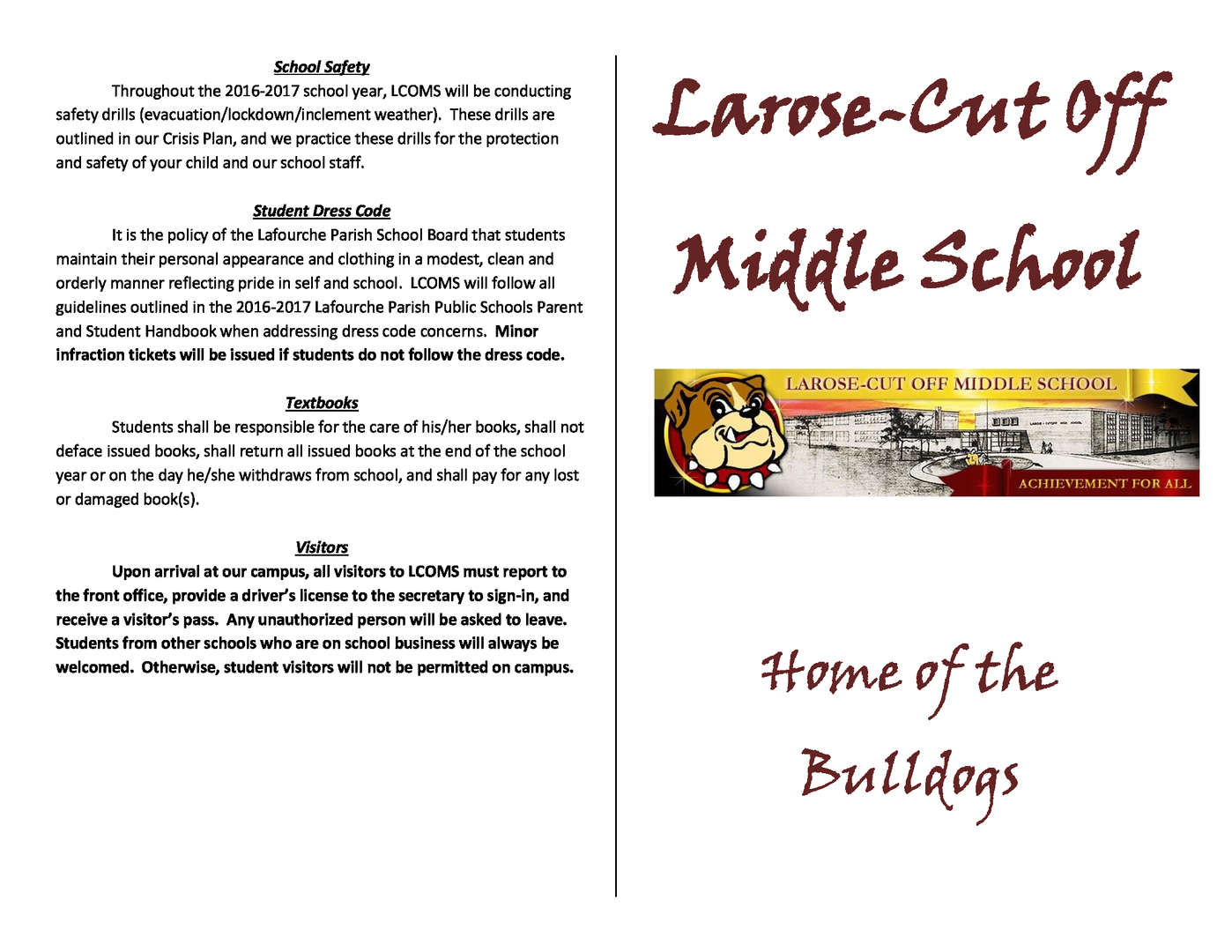 LCOMS student parent handbook