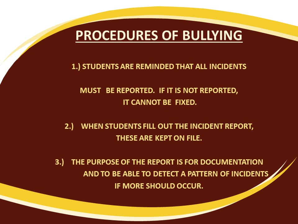 Bullying/Cyberbullying procedures