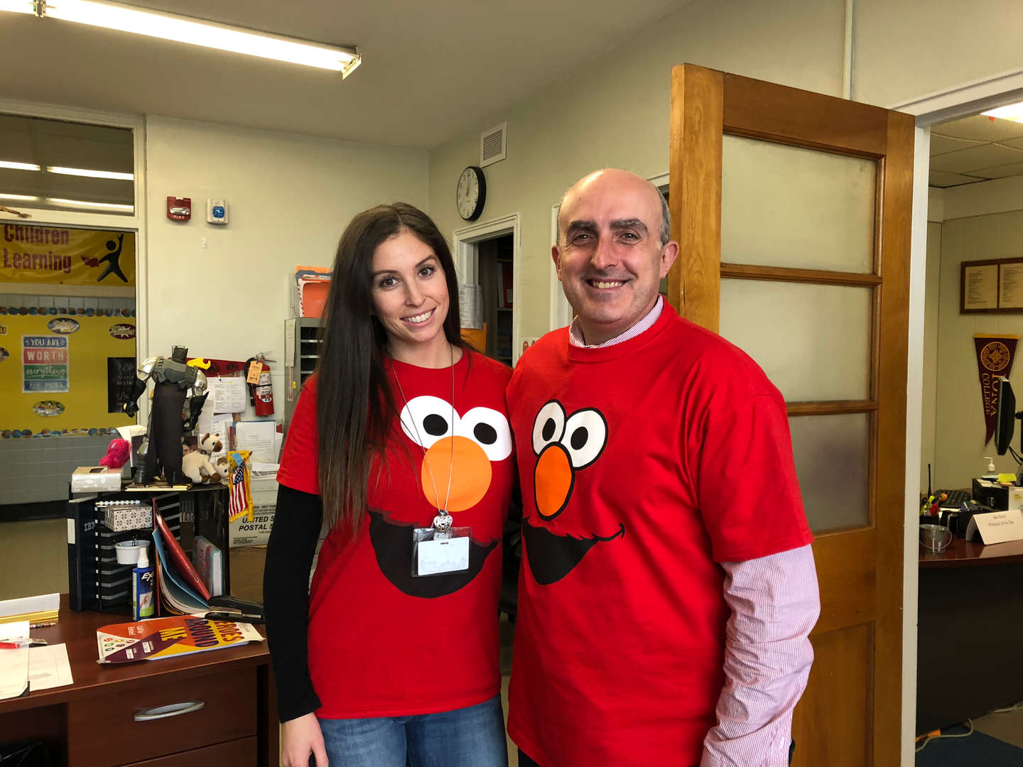 Mr. Mercora and Ms. Muratore celebrate Elmo for Sesame Street Day!