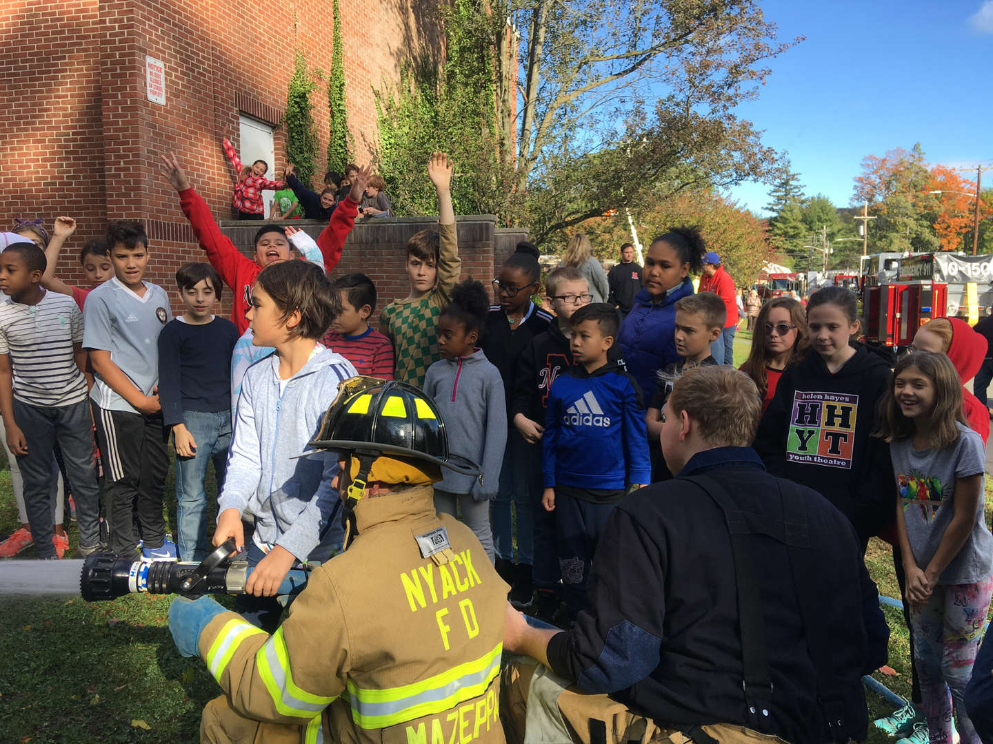 Firefighter Demonstration with students 10/18/19