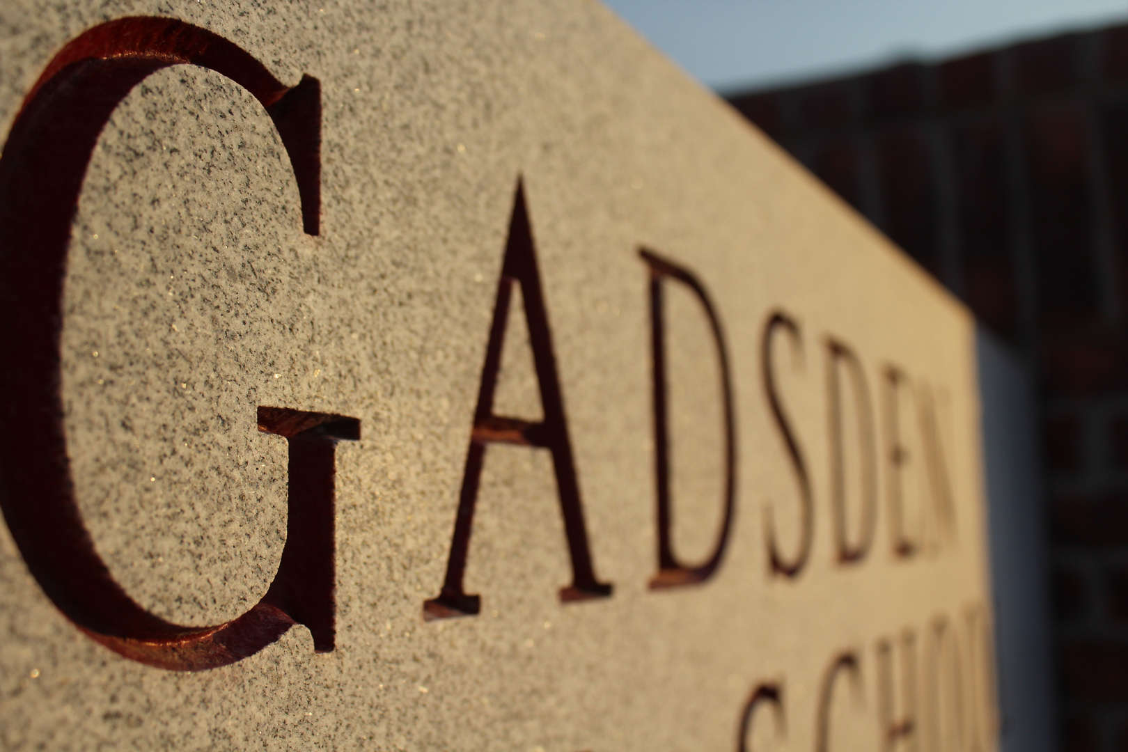 Gadsden High school carved on stone