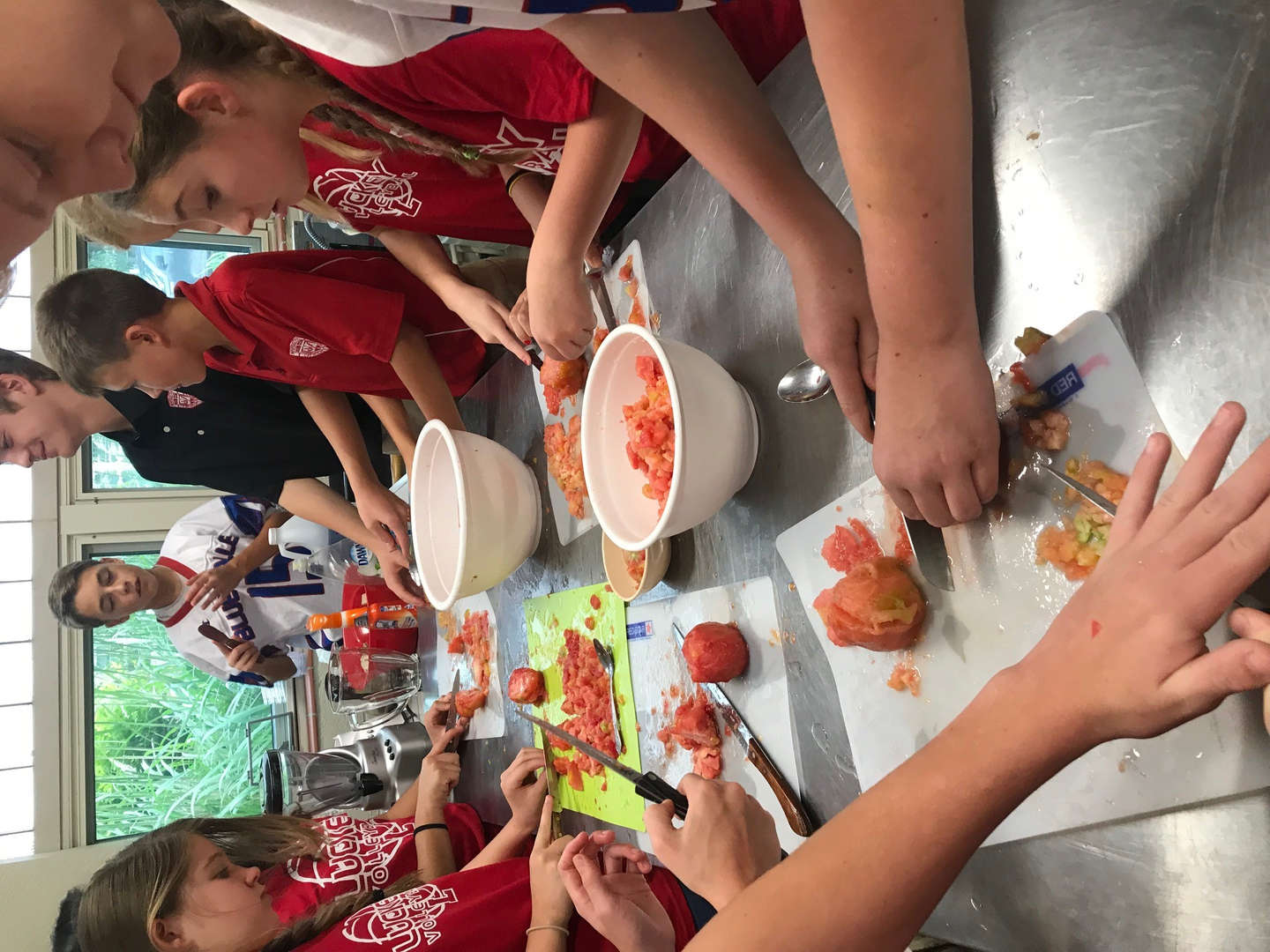 8th grade making salsa!