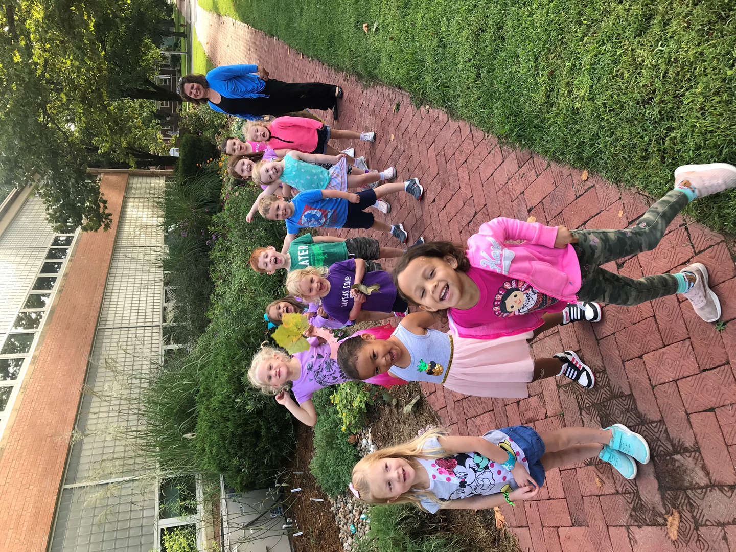 Pre-k friends exploring the butterfly garden