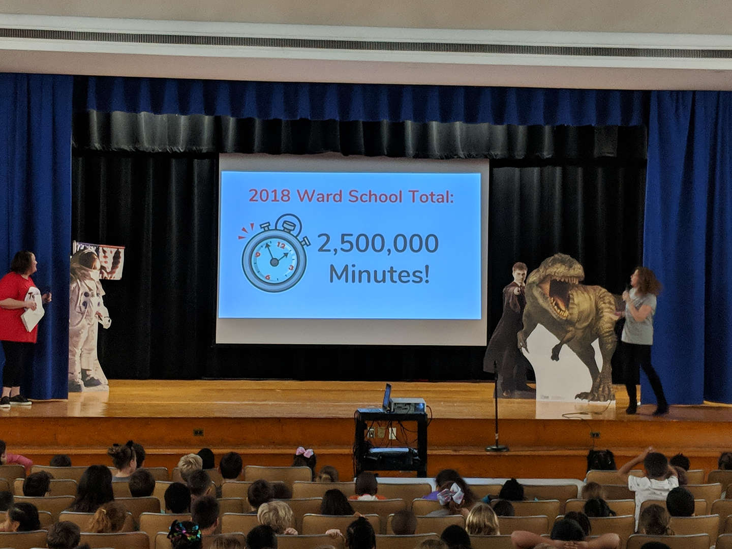 Teachers shared last year's total of 2,500,000 minutes of reading.