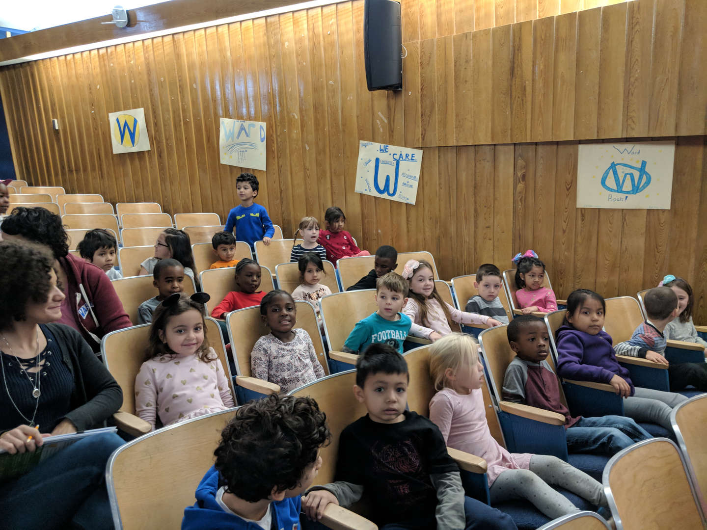 Kindergarten students gathered for the Ward Read-A-Thon Celebration in the auditorium.