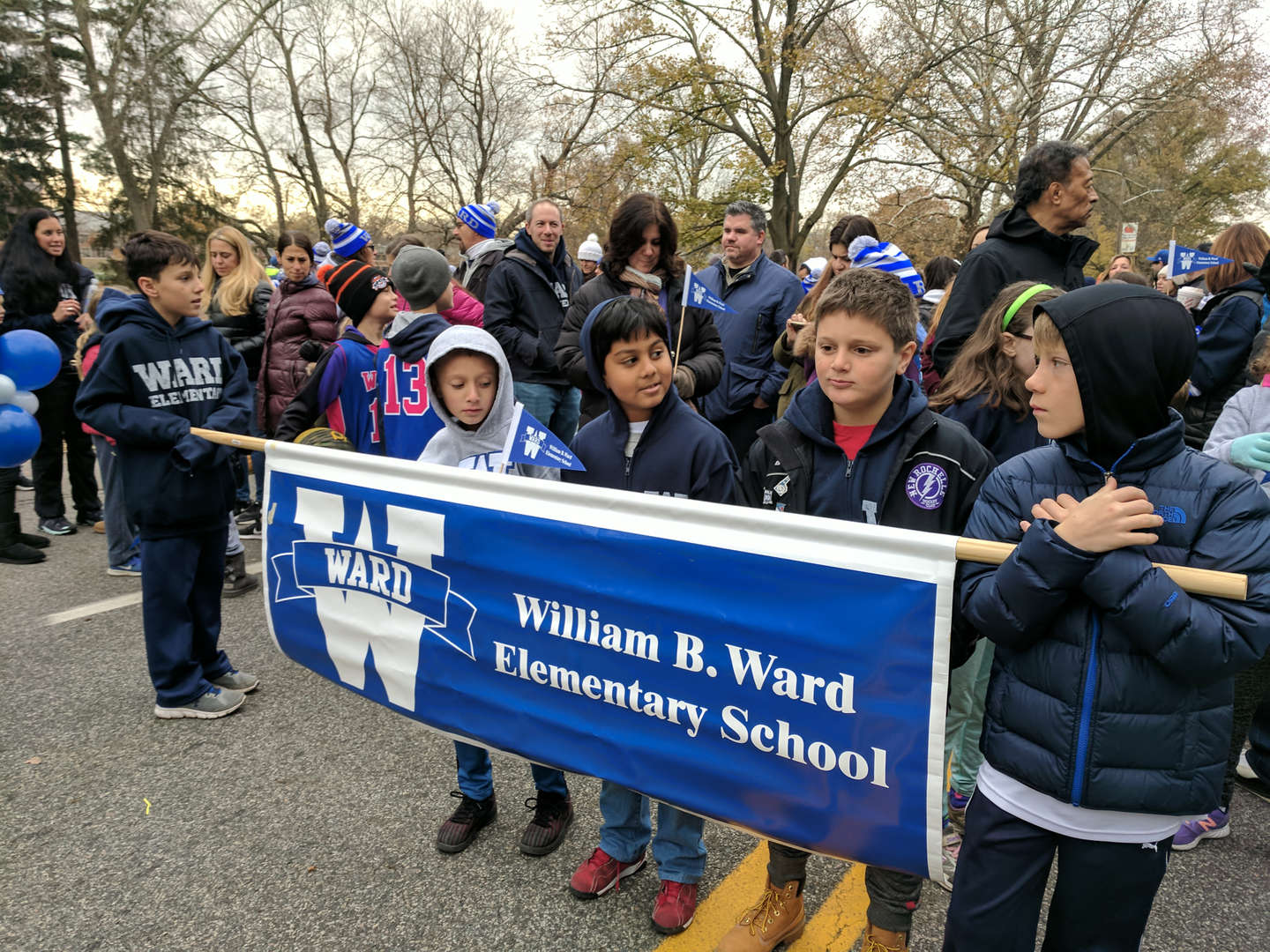 Photo of William B. Ward staff and students participating in the Thanksgiving Day parade.