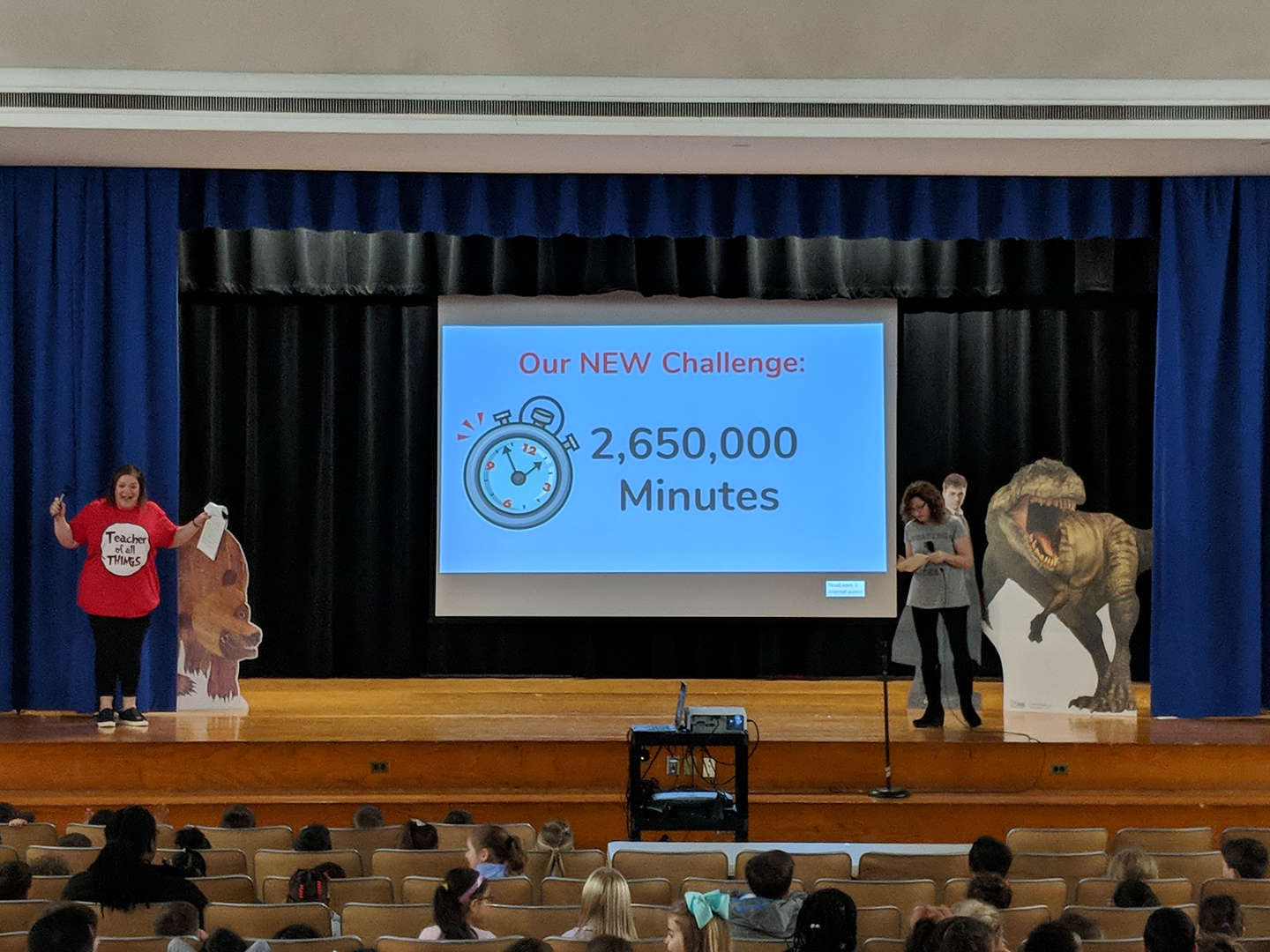 Teachers share the new goal of 2,650,000 minutes of reading.