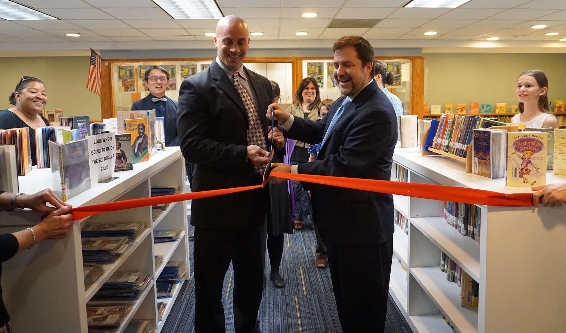 Dr. Osborne and Mr. Miele at Ward Library ribbon cutting