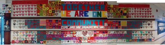 collage of multiple hearts decorated by the community