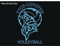 Black t-shirt design with decorative turquoise coyote howling at volleyball