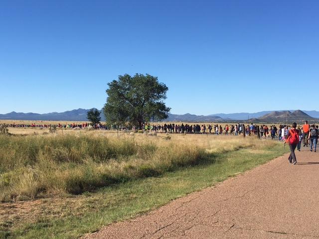 Students walking away from school