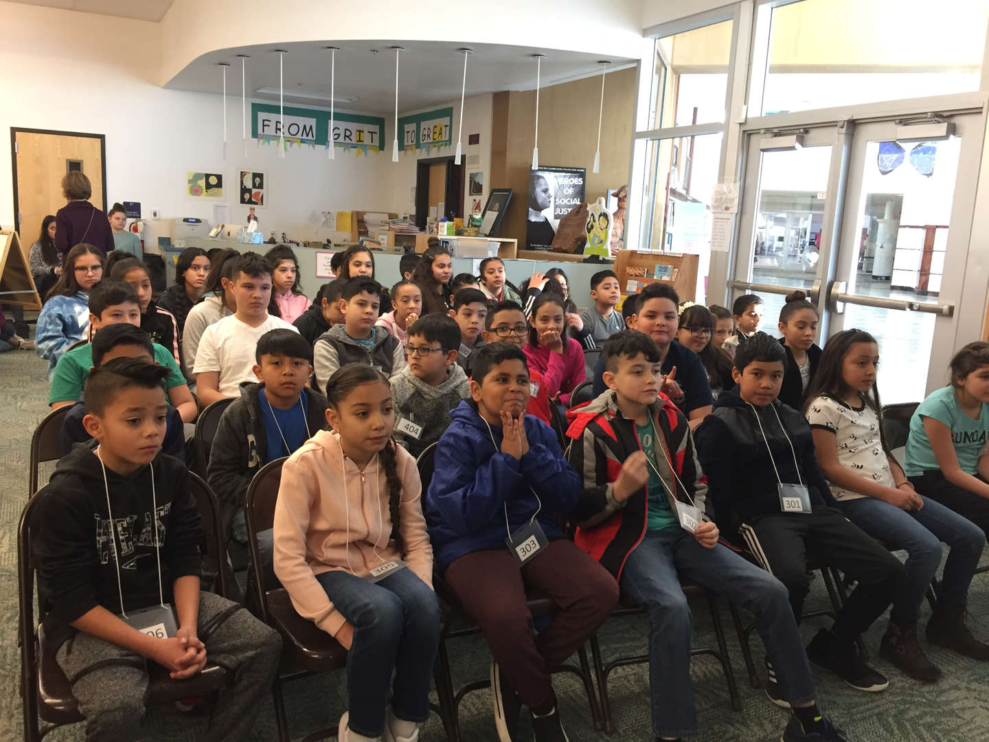 seated students at spelling bee