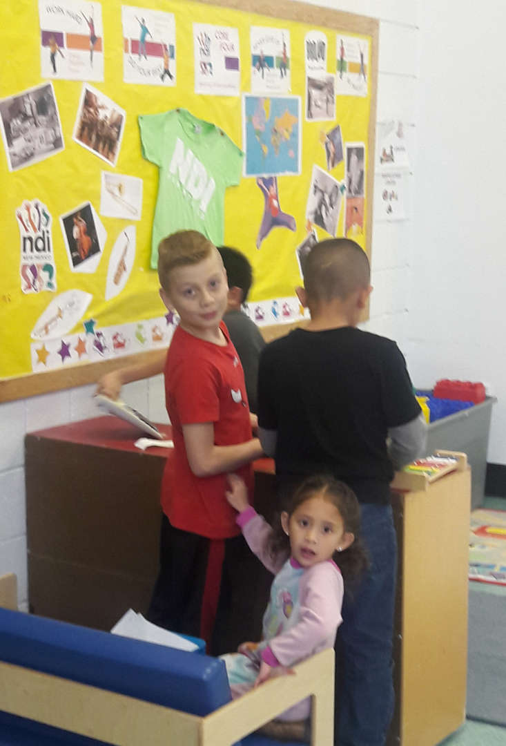 students playing together