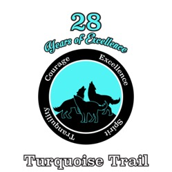 Turquoise and Black circle with coyotes