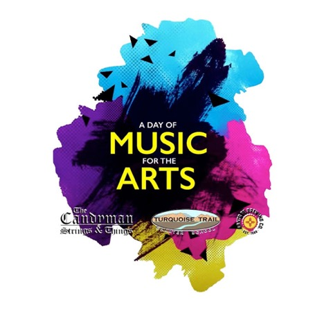 multi colored splashes with 'Day of Music for the Arts' in yellow