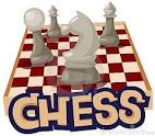 A red and white checkered chess board with the word Chess written underneath