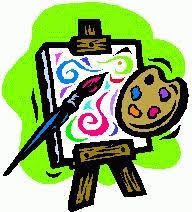Art easel with colorful lines on a canvas.