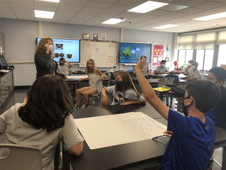 Our fantastic science teacher Ms. Davis made the science & engineering practices come alive in her classroom today!