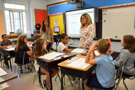 Cynthia Cameron welcomed students as the new Principal of Francis X. Hegarty Elementary School.