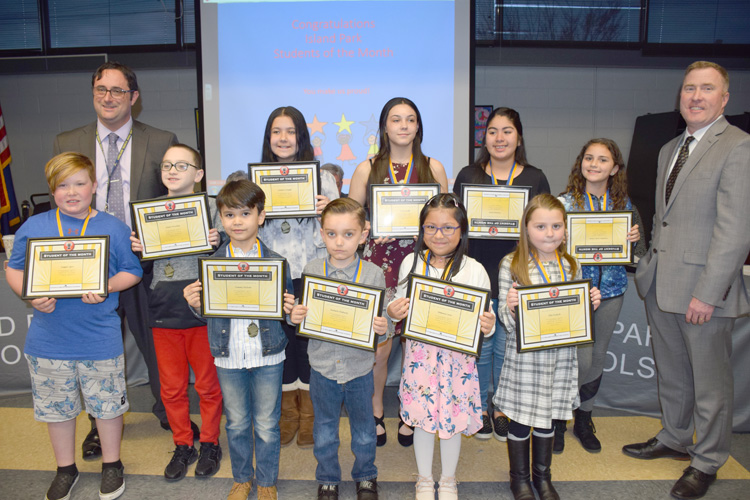 Students from the Island Park Public Schools were recognized as Students of the Month at the Island Park Board of Education meeting on April 16.