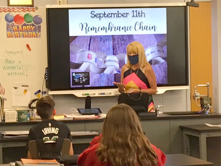 We will never forget... Lincoln Oren's Middle School students learning about September 11, 2001.