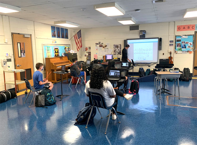 Music is back in our school. Our music teachers reimagining how to teach in-person and remotely.