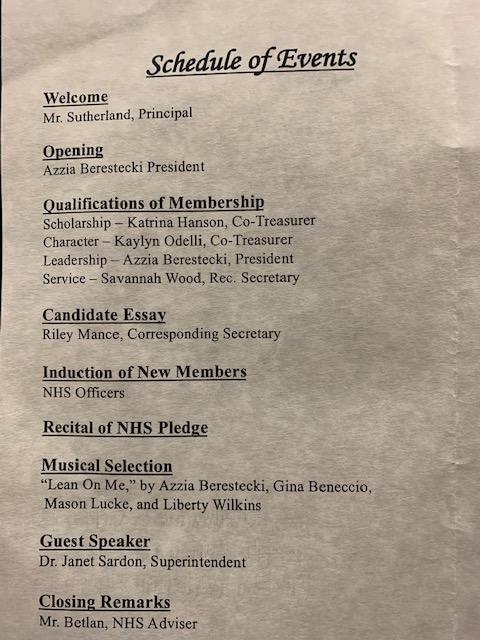 NHS Induction Ceremony Program